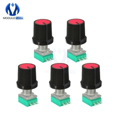 Potenciómetro rotativo B10K 10K, 6mm, 3 pines, 3 pines, 3 P, eje moleteado lineal simple, tipo B, ohm, 10K con tapa, Kit de bricolaje electrónico, 5 uds.