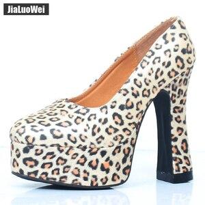 Image 5 - Jialuowei 2018 ใหม่เซ็กซี่รองเท้าส้นสูง 12 ซม. รองเท้าส้นสูง Zebra สัตว์พิมพ์แพลตฟอร์มผู้หญิงปั๊ม Plus ขนาด 36 46