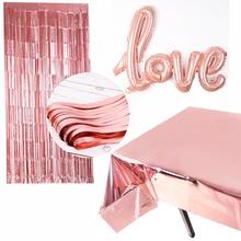 Розовое золото, для невесты, для душа, металлическая фольга, для невесты, для девичника, вечерние, блестящие, свадебные украшения, для девочек, для дня рождения, для вечеринки