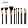 Jessup Brand 12pcs Black/Gold Professional Makeup Brush set Beauty Make Up Cosmetics kit Eyeshadow Foundation blusher Tools