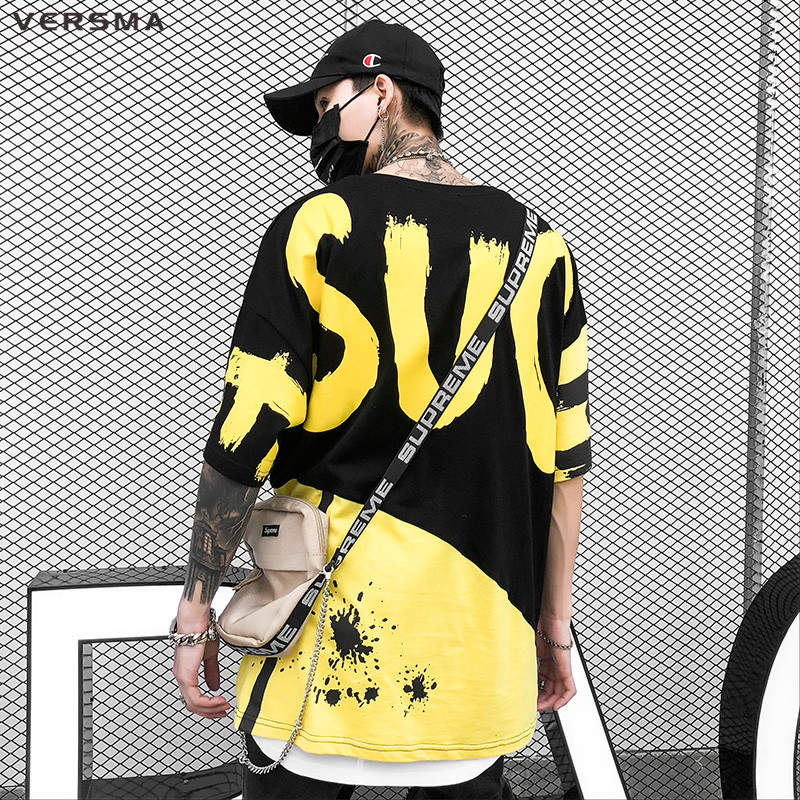 VERSMA 2018 Korean Harajuku Ulzzang Letter Printed T-shirts Men Women Summer Hip Hop Streetwear BF Oversized Tshirt Dropshipping