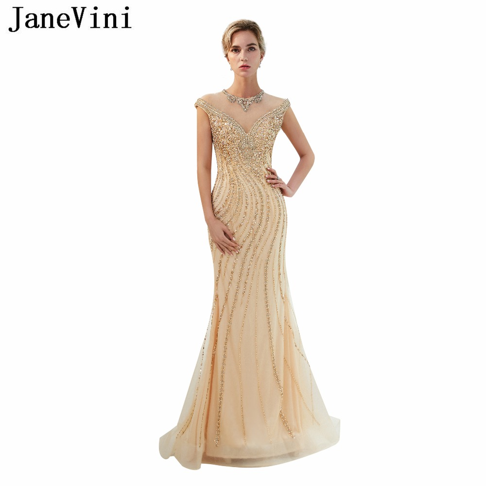 JaneVini Luxury Prom   Dress   2018 Sexy Champagne Tulle   Bridesmaid     Dresses   O-Neck Illusion Back Beading Mermaid Formal Party Gowns