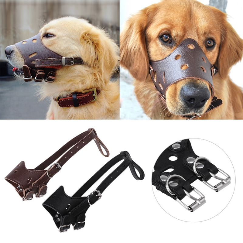PU Leather Dog Adjustable Muzzles Anti Bark Bite Pet Outdoor Mask Mouth Cover