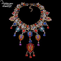 Dvacaman 2018 Indian Bridal Women Big Statement Necklace Wedding Flower Long Pendant Crystal Necklace Custom Jewelry Accessory