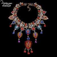 Dvacaman 2018 Indian Bridal Women Big Statement Necklace Wedding Flower Long Pendant Crystal Necklace Custom Jewelry Accessory