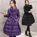 2017 НОВЫХ Женщин Вниз Пальто Зимние Куртки Женщин Черный Длинная Юбка Пальто Сельма Теплая Парка Верхняя Одежда Doudoune Femme