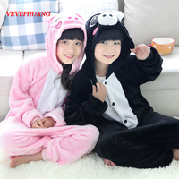VEVEFHUANG Flannel Pyjamas Kids Cosplay Cartoon Animal Pink Black Pig Pajamas Children Onesie Pijama Girls Boys