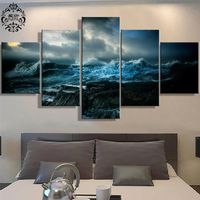 Wall Art Painting Modern 5 Pieces Canvas Poster Oceans Wrath Home Decor For Living Room Scenery Modular Printed Pictures Artwork