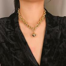Metal Pendant Short Gold Necklace Simple Ball Clavicle Chain New Punk Exaggerated Thick Sweater