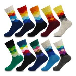 Image 1 - Artı Boyutu 10 çift/grup Rahat Renkli Mutlu Çorap Erkekler Komik pamuk çorap Sıcak İngiliz Tarzı Ekose Calcetines Divertidos Sıcak
