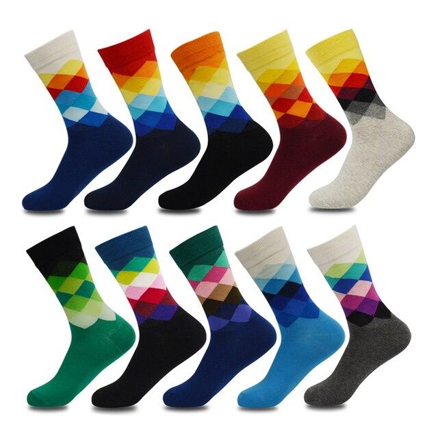 Artı Boyutu 10 çift/grup Rahat Renkli Mutlu Çorap Erkekler Komik pamuk çorap Sıcak İngiliz Tarzı Ekose Calcetines Divertidos Sıcak