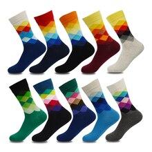 Plus Größe 10 paare/los Casual Bunte Glückliche Socken Männer Lustige Baumwolle Socken Warme Britischen Stil Plaid Calcetines Divertidos Heißer