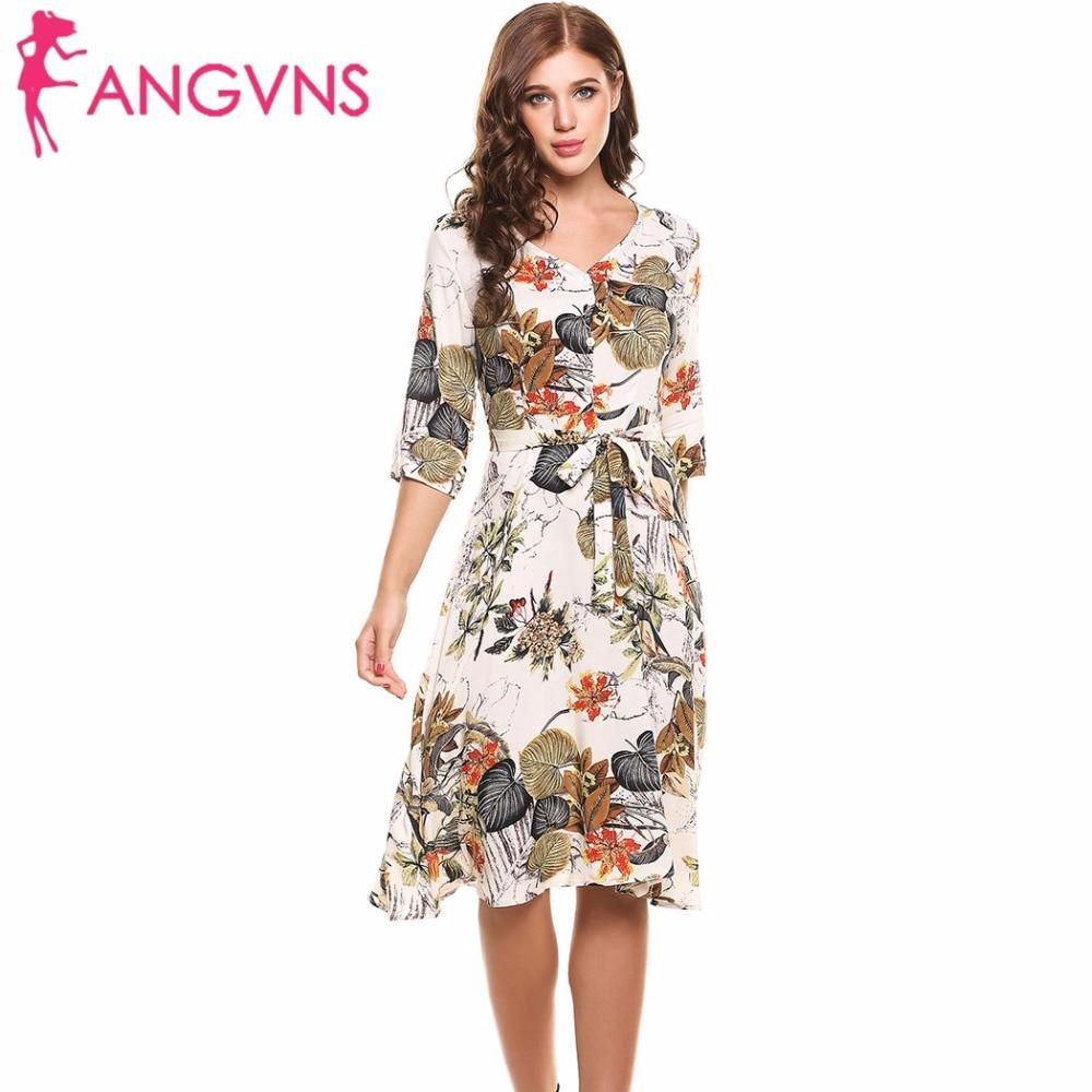 ANGVNS Casual Print Dress Dresses Ladies Summer Elegant Vestidos 2017 New Hot Women 3 4 Sleeve