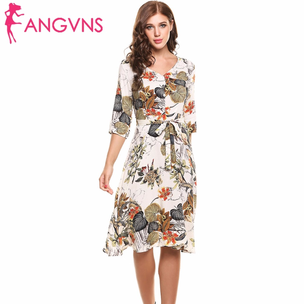 ANGVNS Casual Print Dress Dresses Ladies Summer Elegant Vestidos 2017 New Hot Women 3 4 Sleeve