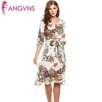 ANGVNS Fleur Casual Imprimer Robe Robes Dames D'été Élégant Robes 2017 Femmes 3/4 Manches Lin Imprimé Tropical Partie Robes