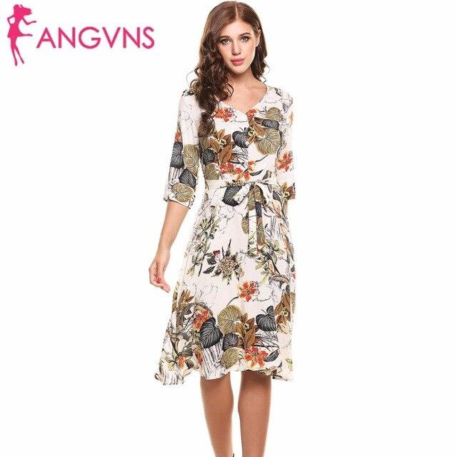 ANGVNS Lässige Blumen druck kleid Kleider Damen Sommer Elegante ...