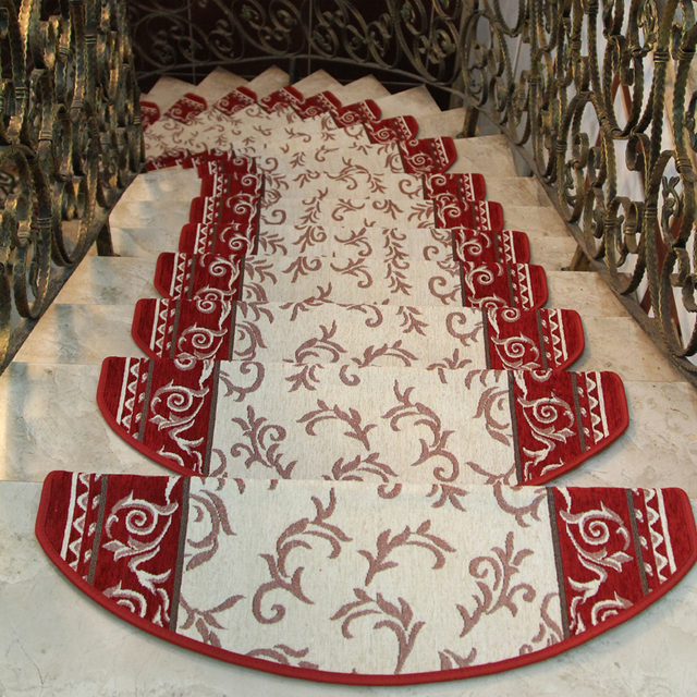 KEYAMA New European pastoral style Acrylic floral carpet stair treads mats Stair area rugs Home staircase decorative carpets