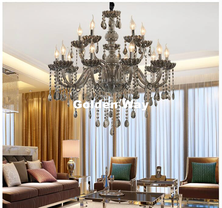 Free Shipping Crystal Chandelier lighting Smoky Gray Crystal Chandeliers Large Chandelier Lighting Bedroom Living Room Lighting bai room lighting