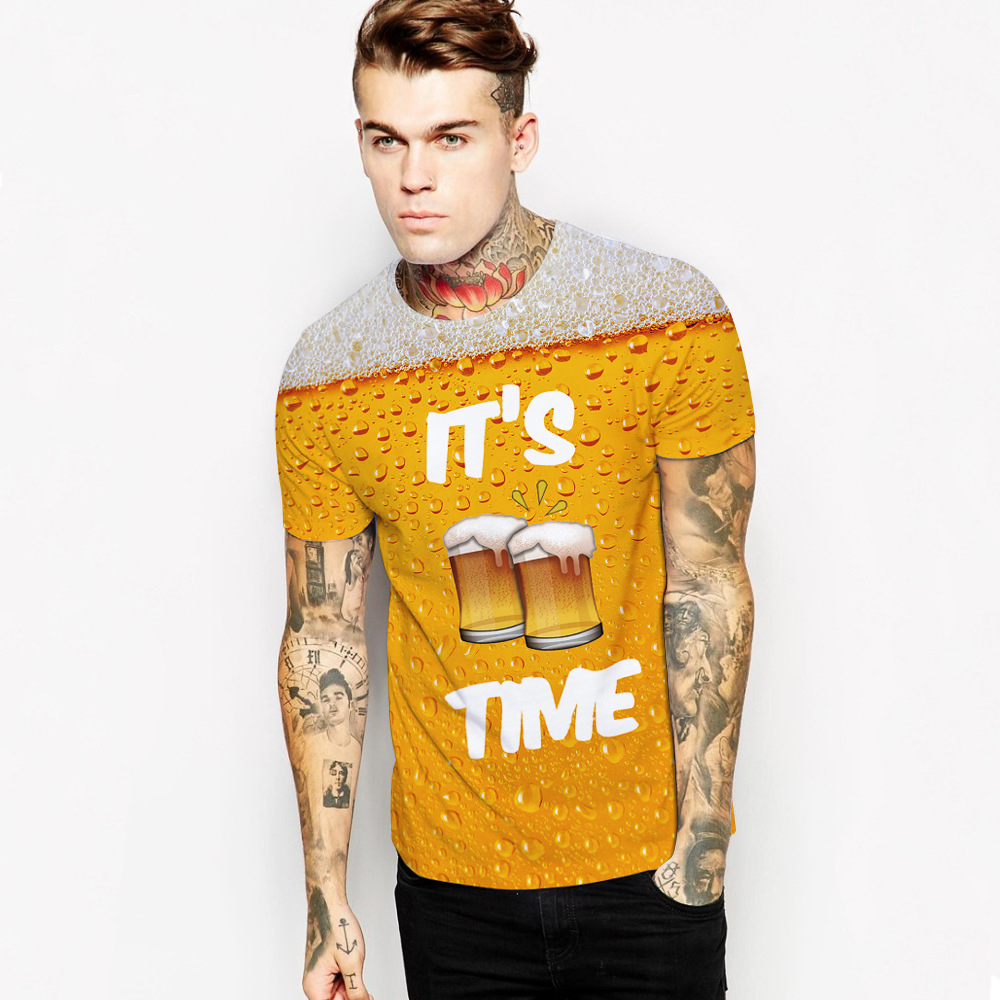 Fanny Party Shirts ITS BEER TIME 3D Print Short Sleeves Men Casual t shirt Women Summer Groot tshirt Tops Plus Size