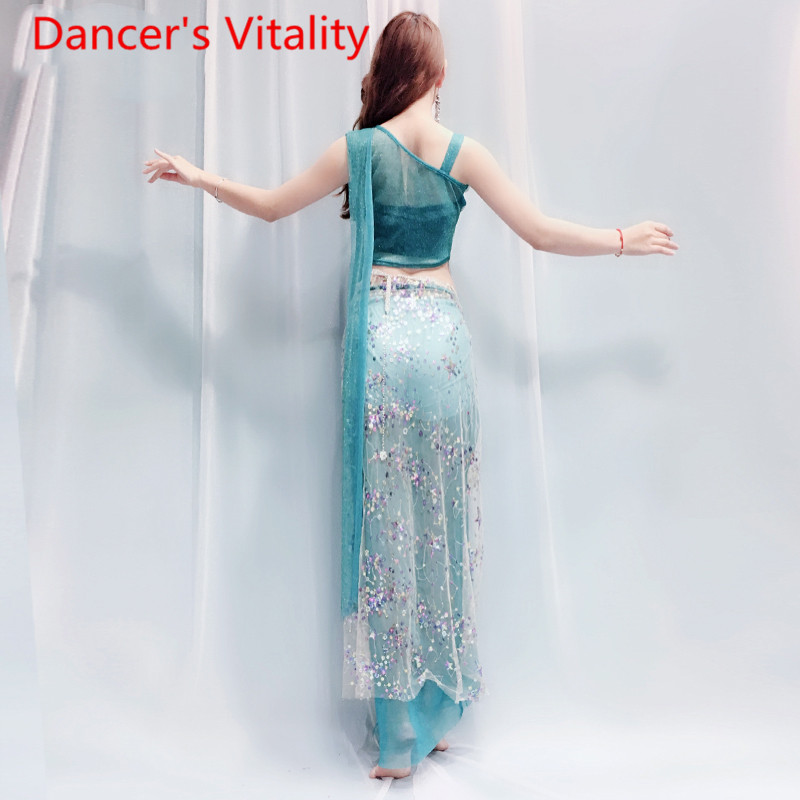 Image 2 - bell dance suit top + skirt 2pcs clothes Coloured Beaded embroidered shoulder Fairy  clothing Costume 4 style belly dance set-in Belly Dancing from Novelty & Special Use