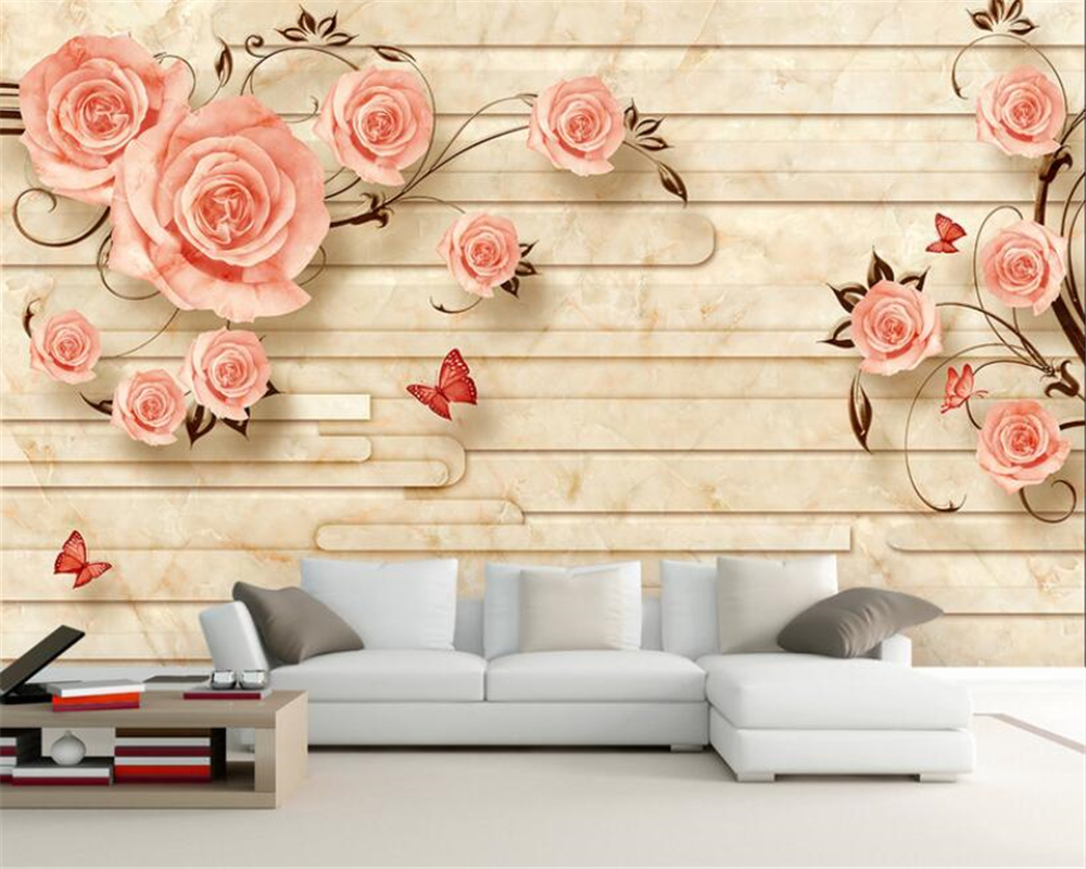 European marble reliefs roses TV sofa background wall wallpaper for walls 3 d murals paper wall papers home decor beibehang in Wallpapers from Home Improvement