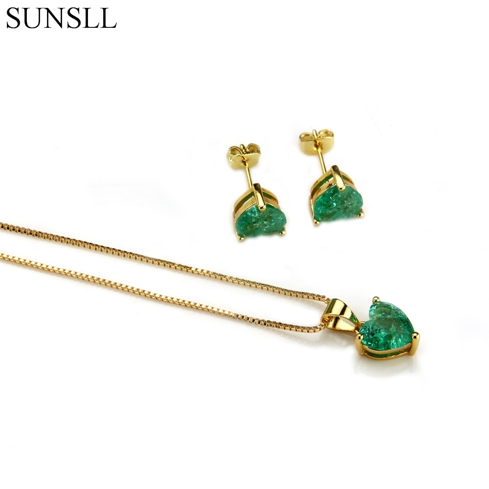 SUNSLL Golden Color Copper Multicolor Crack Cubic Zirconia Stud Earrings And Pendant Necklaces Women's Fashion Jewelry Sets