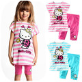 2016 Summer Children's Clothing Set . Baby Girls cartoon Cute Suit (short sleeve striped dress + short pants) 2-Piece Set