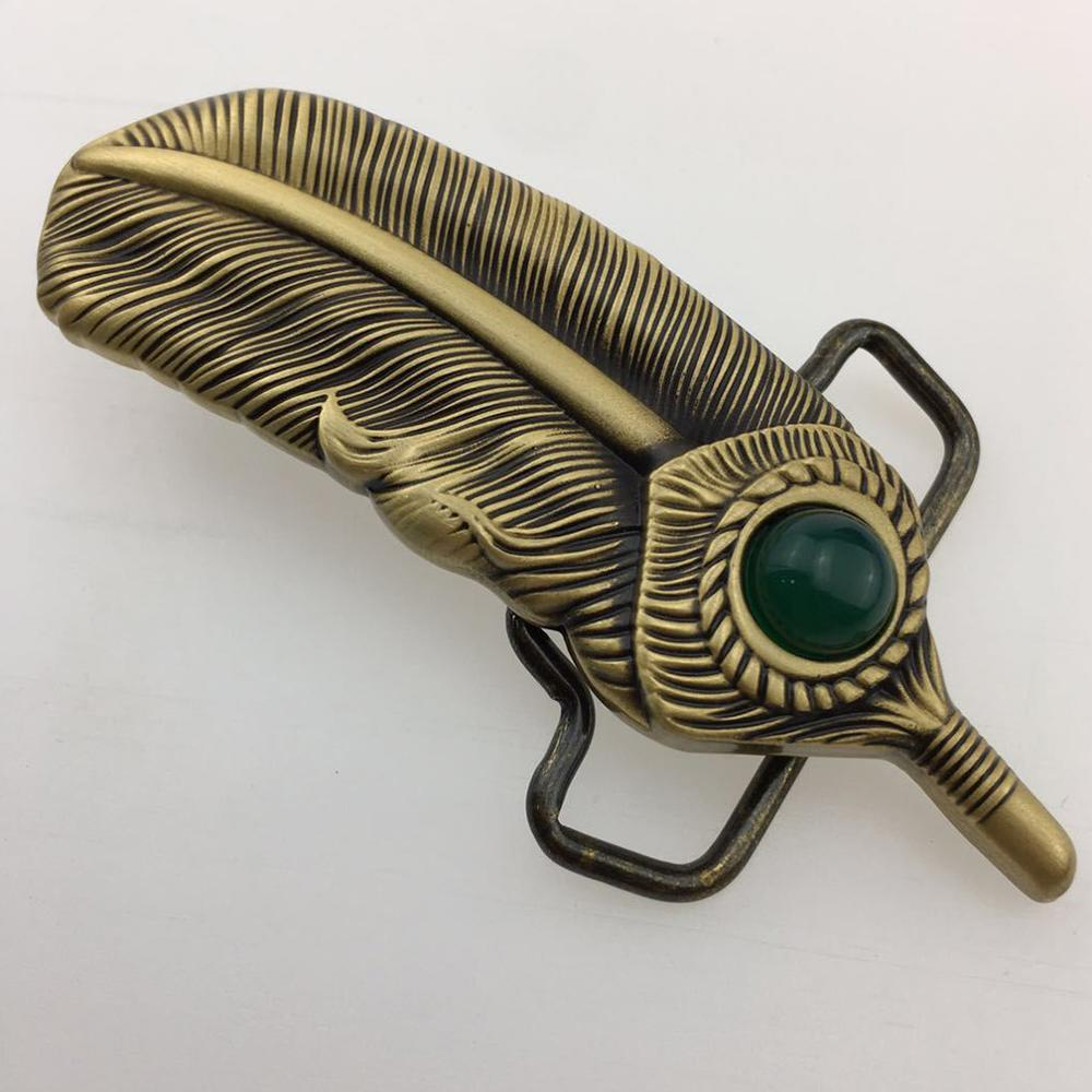 CUKUP Bronze Color Unique Design Feather Jade Decorative Cowboy Belt Buckle Pure Copper Buckles Ancient Character Phantom BRK014