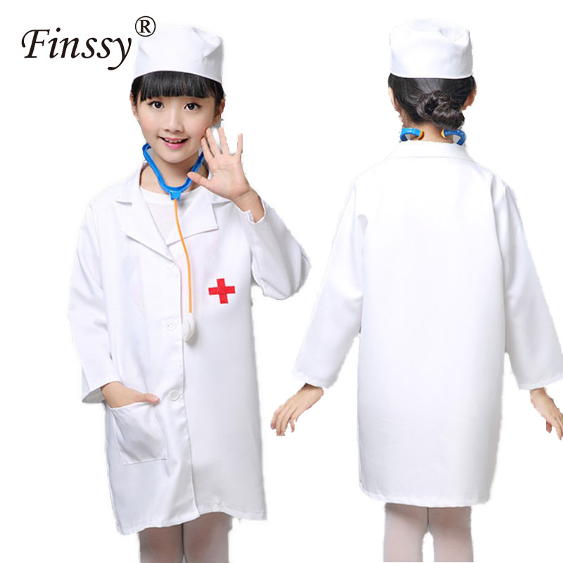 1pcs Nurse Cosplay Costume for Girls Doctor Uniform Costume Halloween Costume for Girls Kids Party With Hat
