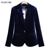 High Quality 2018 New Velvet Women Blazer Black Blue Elegant Lady Blazers Suits Plus Size Long Sleeve Slim Office Suit Jacket