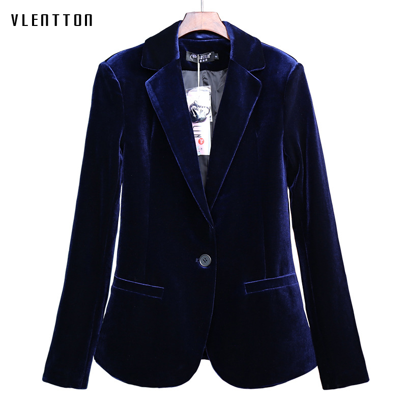 High Quality 2019 New Velvet Women Blazer Black Blue Elegant Lady Blazers Suits  Plus Size Long Sleeve Slim Office Suit Jacket