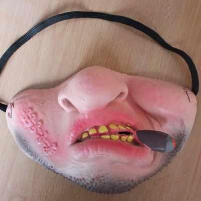 2019 Horror dla dorosłych Party maska lateksowa dziewczyny dzwoneczek Cosplay Halloween pół twarzy straszne maski Masquerade Halloween maska obrzydliwe usta maska rekwizyty