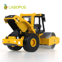 1:50 High Simulation Alloy Road Roller Truck Toy Pull-back Vehicle Mini Yellow Engineering Drum Roller Car Model Children Toys yellow architecture construction vehicle model alloy simulation cement mixer truck toys for children buildings