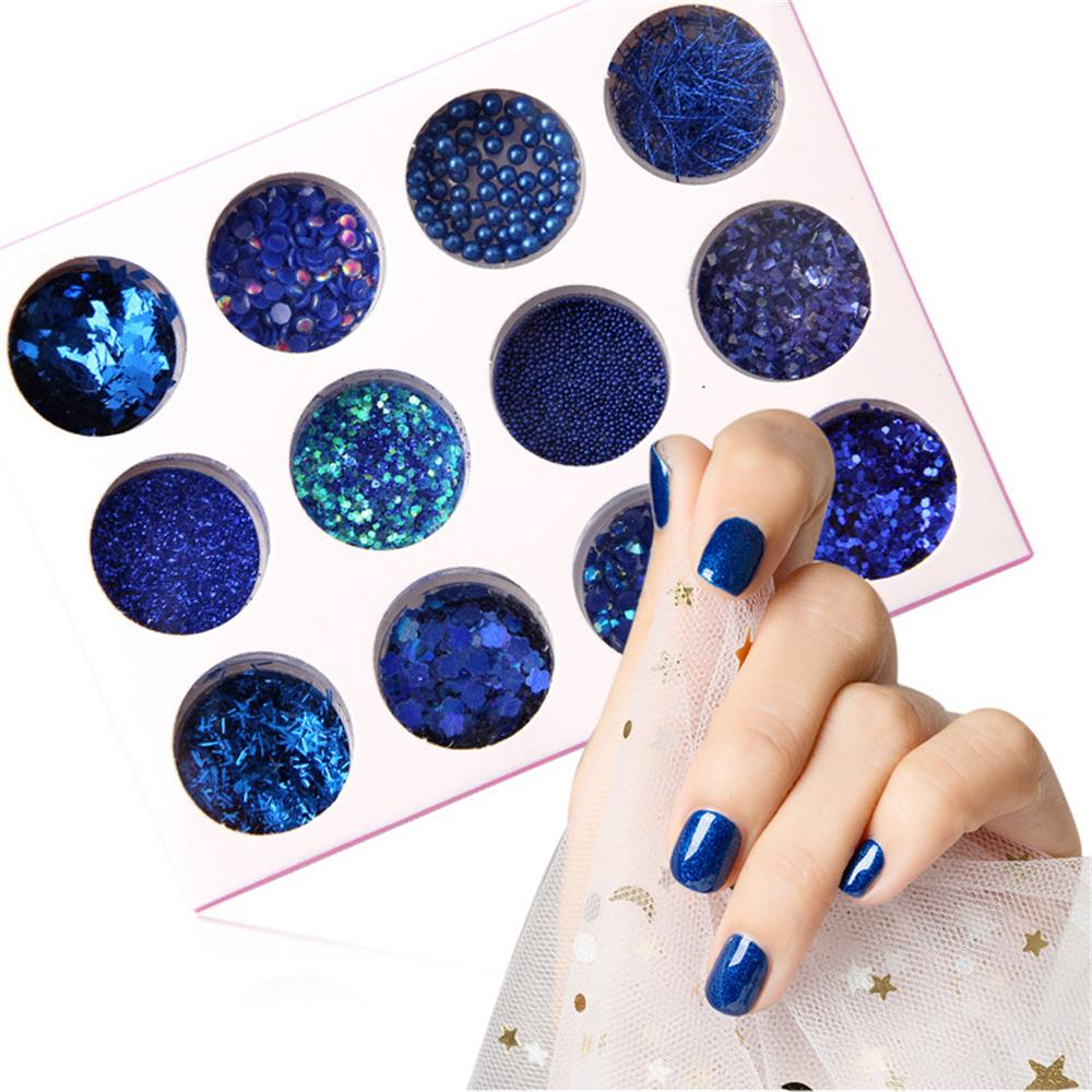 1 Set Royal Blue 3D Nail Giltter Paillettes Pigment Powder