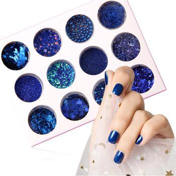 1 Set Royal Blue 3D Nail Giltter Paillettes Pigment Powder Shiny Sequins Women Nail Stickers Manicure Decoration Tools Nail Glitters
