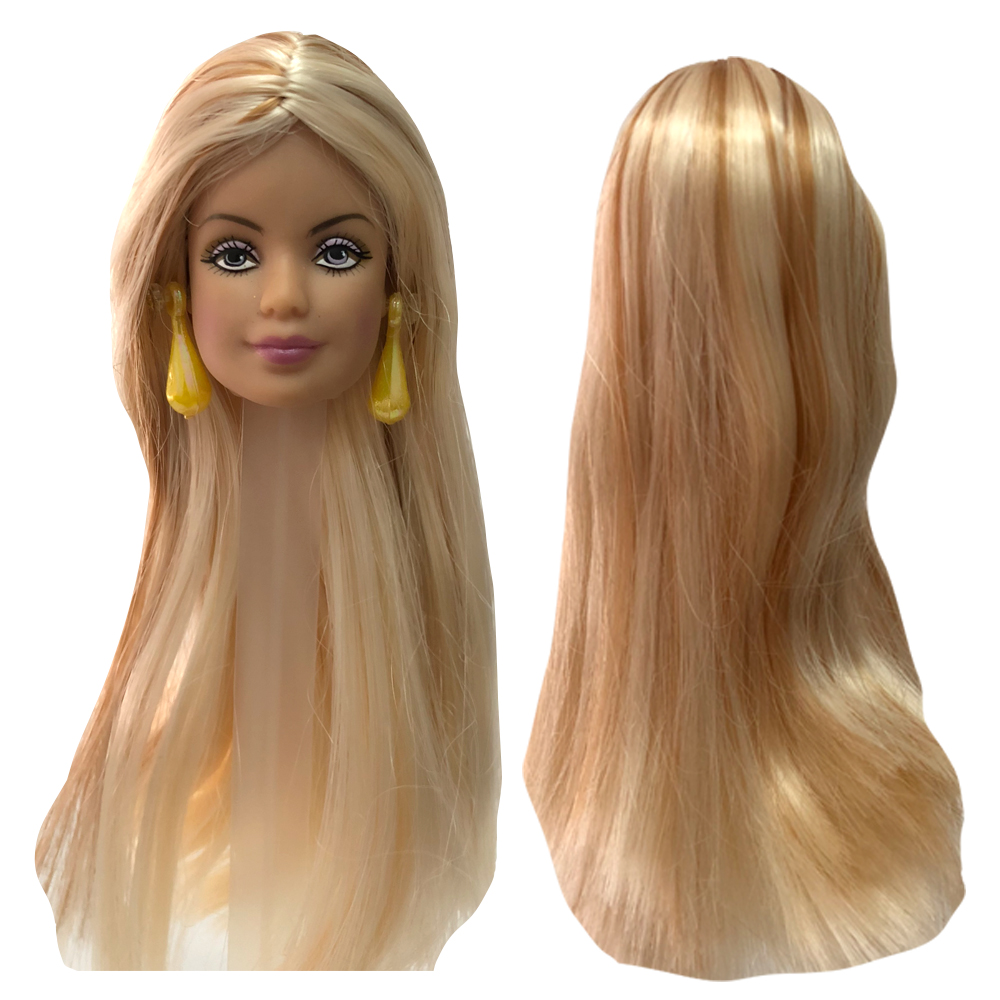 NK One Pcs Doll Head With Long Hair  For 1/6 Doll Accessories  Best DIY Gift For Girls'  Doll Toys  002A 5X