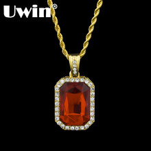 Gold Color Iced Out Top Fashion Rhinestone Pendant Necklace Set With Different Kind Of Color Stone Matching For Men(China)