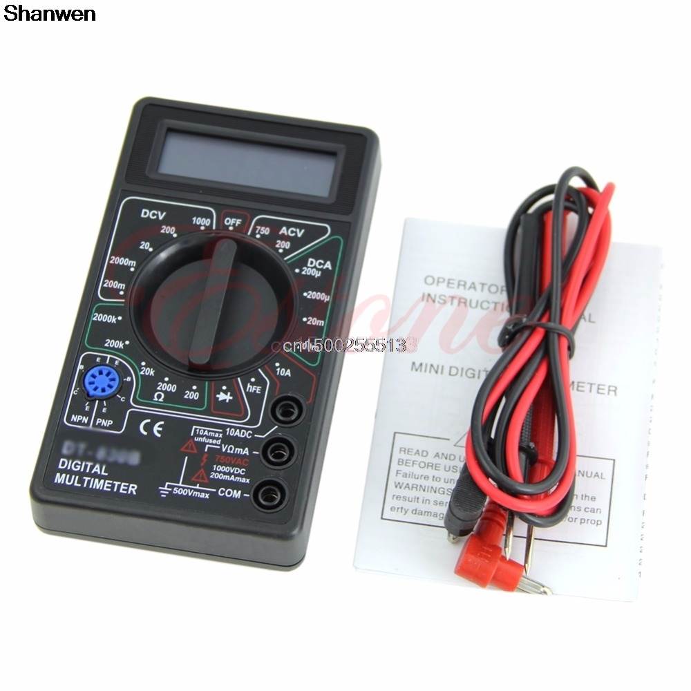 Mini LCD Digital Multimeter Ammeter Portable Voltmeter Tester Ohmmeter ...