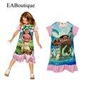 EABoutique летний стиль 100% хлопок дети платье Моана принцесса девушка печати платье бренда дети бальные платья