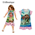 EABoutique summer style 100% cotton children dress Moana princess girl print dress brand kids party dresses