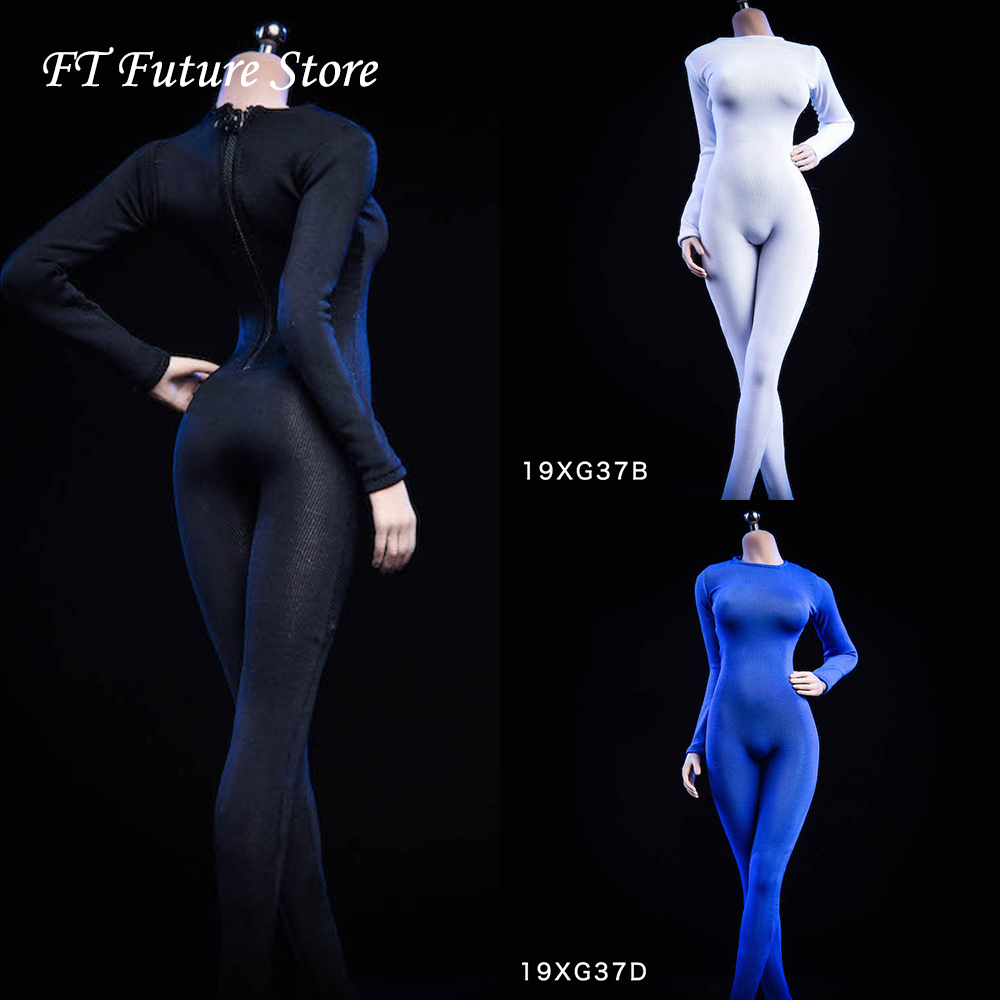 Collectible 19XG37 1/6 Female Figure Accessory Sexy Long Sleeved Bodysuit Undercoat Jumpsuit for 12'' Action Figure Body image