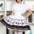 High waist Punk Lolita Poker Print Sweet Jumper skirt Suspenders Lolita Pleated Lace Skirt High quality Custom made Women Skirts