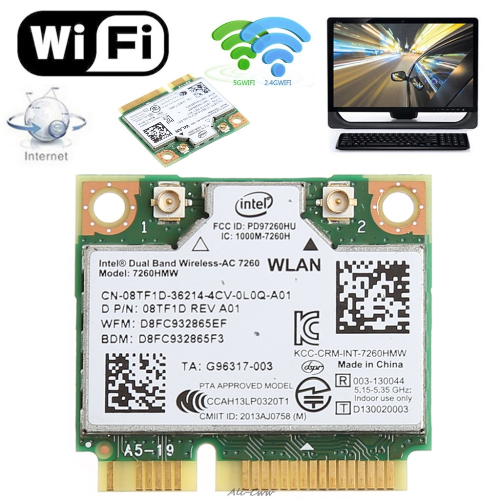 876M Dual Band 2.4+5G Bluetooth V4.0 Wifi Wireless Mini PCI-Express Card For Intel 7260 AC DELL 7260HMW CN-08TF1D