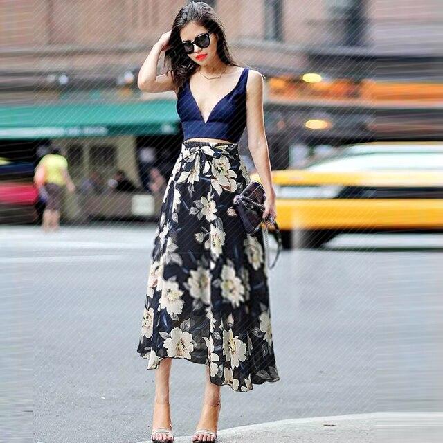 New Plus Size Women Chiffon Skirt Europe Fashion Bow Saia Midi Lining Jupe Femme Lace Up Falda Mujer Summer Print Floral Skirts 3
