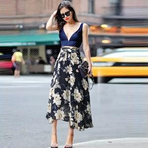 Image 3 - Saia de chiffon feminina, borracha de chiffon estampada com laço jupe femme plus size saias florais,