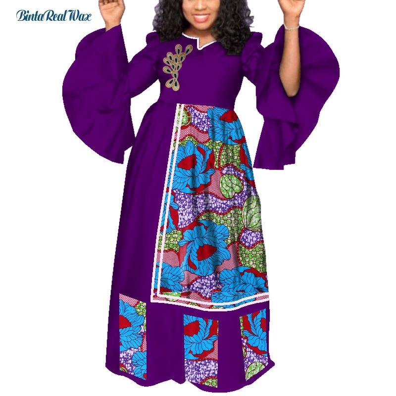Bazin Riche Lange Party Abendkleider Frauen Afrikanische Rüschen Hülse Kleider für Frauen Afrikanische Kleidung Drucken Blatt Kleider WY3985 - 4