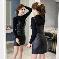 perspective two piece 2018 New Summer Spring Sexy Women PU Leather Dress Long Sleeve Dress Black Sexy Club Party Dresses