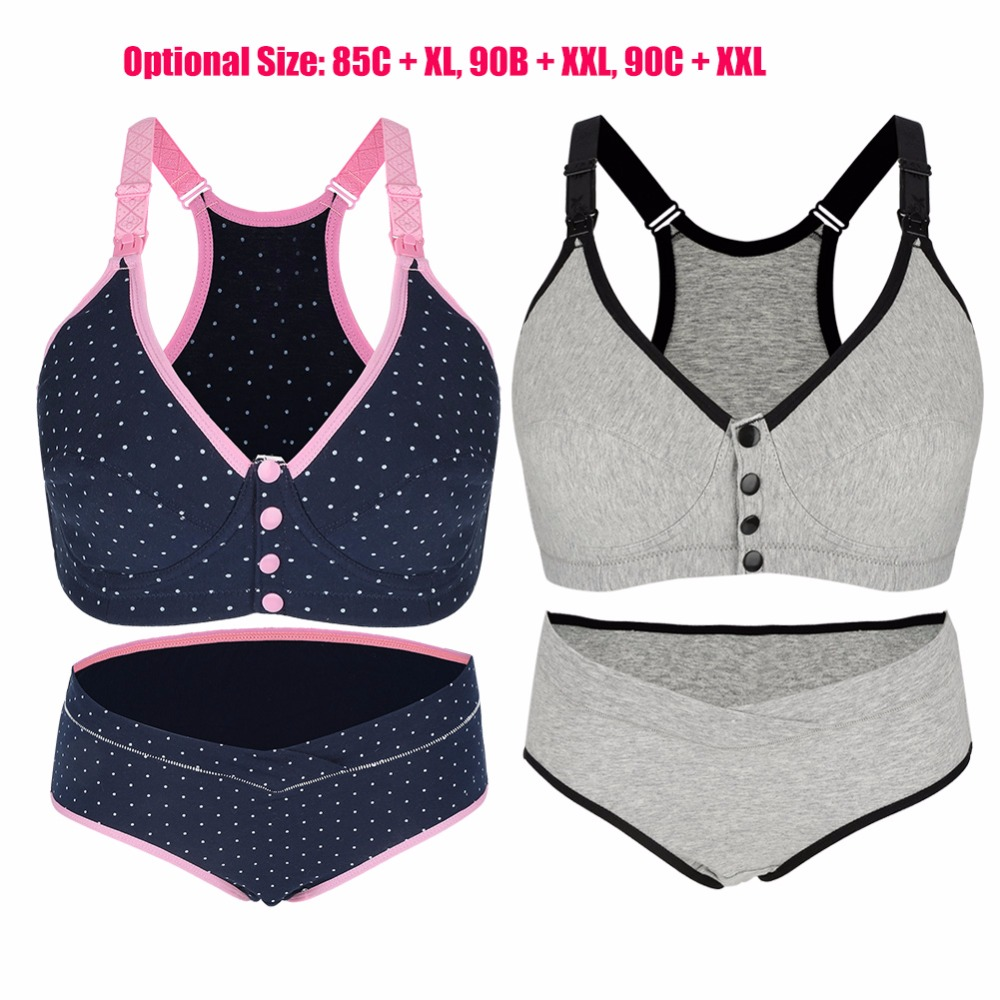 Bra Panties Set Breathable Cotton Maternity Nursing Breastfeeding Bra + Panties Set Woman Pregnancy Underwear