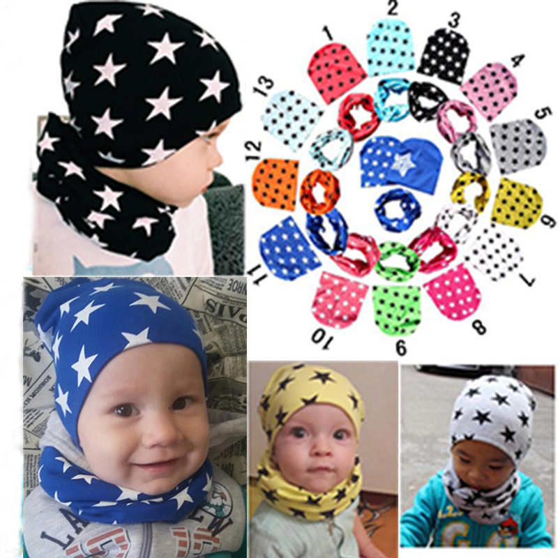 2Pcs/Set Fashion Hot Sell Star Pattern Cotton hat and scarf Cute Kid Baby Boy Spring Autumn Children Hat Scarf Collars Soft Cap fashion handpainted palm sea sailing pattern hot summer jazz hat for boys