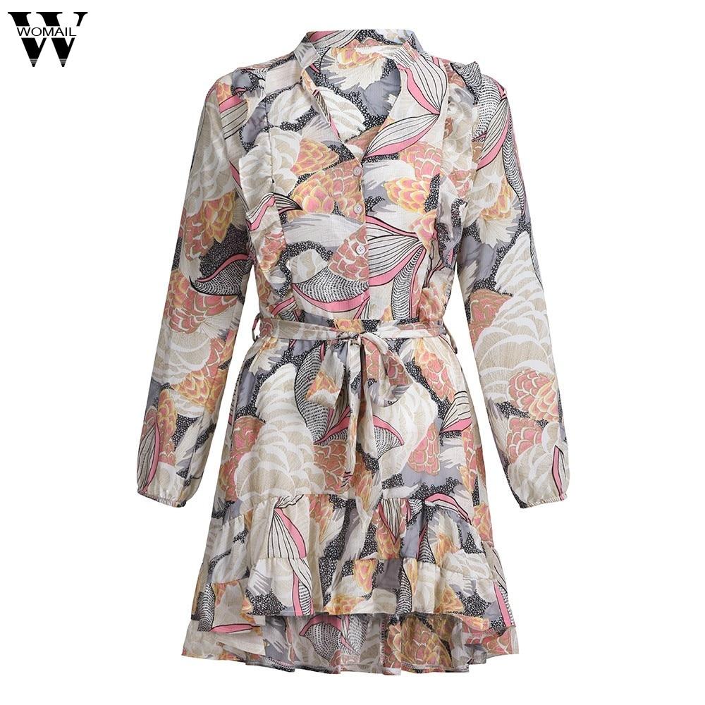 Womail Autumn woman dress elegant evening sexy party V-neck long-sleeved printed chiffon dress plus size vestidos de fiesta